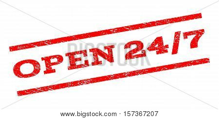 Open 24-7 watermark stamp. Text caption between parallel lines with grunge design style. Rubber seal stamp with unclean texture. Vector red color ink imprint on a white background.