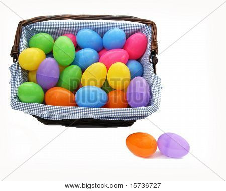 colourful basket of easter eggs isolated on white