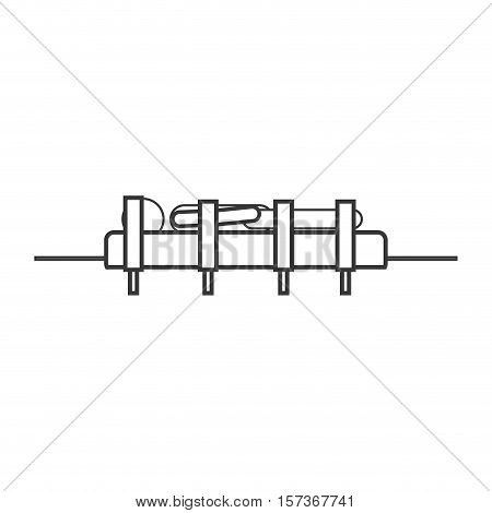 contour silhouette male in stretcher attached with straps vector illustration