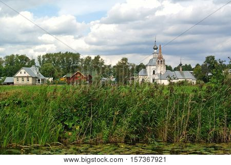 Church of Elijah Prophet Ivanova grief in Suzdal, in bend of Kamenka river, opposite Suzdal Kremlin. Orthodox architecture