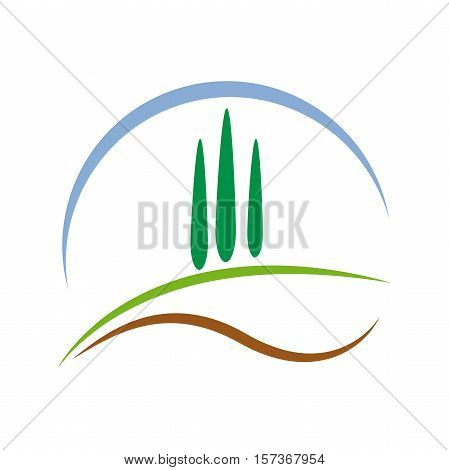 Vector abstract farm with cypresses. Countryside tourism concept