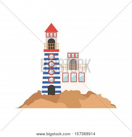 full color with Tower of Lighthouse and rescue operations center over mountain vector illustration