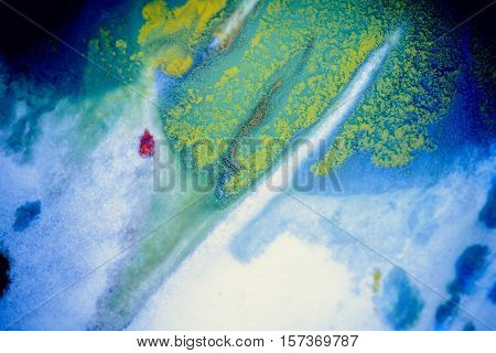 bursts of multicolored paints and mixed together white paper. Drawn splashes of paints of different colors on white surface. Blue, yellow, red, green color. Spreading spraying flow leak stream mixing