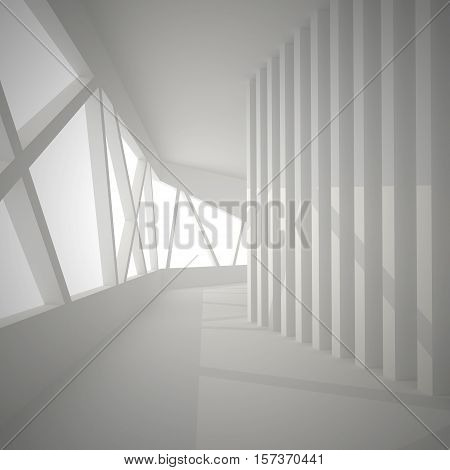 3d illustration. White interior of not existing building. The walls of vertical and inclined elements with shadows. Perspective view render.