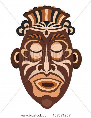African Papuan mask isolated on a white background.