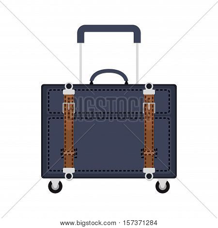 full color with travel suitcase blue with wheels and handle vector illustration