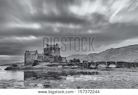 Eilean Donan Castle at Dornie on Kyle of Lochalsh in Scotland in artistic conversion