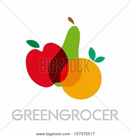 Vector abstract greengrocer. Apple pear and orange