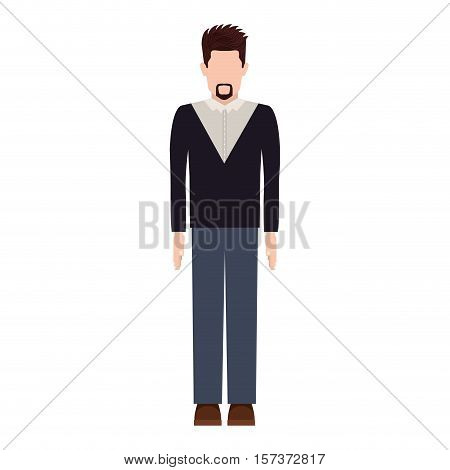 silhouette man with van Dyke beard vector illustration