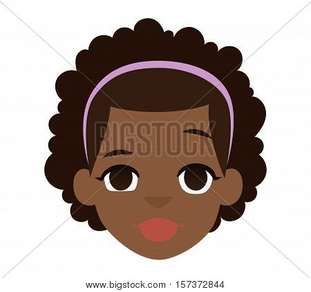 Portrait of afro american girl isolated on white. Diversity people one youth woman afro american boy vector character. Afro american ethnicity woman adult face