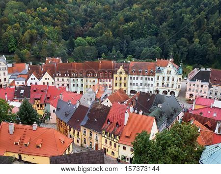 Medieval town of Loket. View from Loket Castle BohemiaCzech Republic