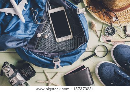 Overhead view of Traveler's accessories and items Travel concept