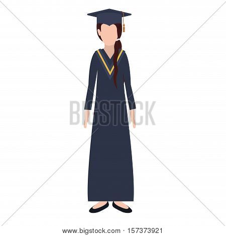silhouette woman with graduation outfit and ponytail hair vector illustration