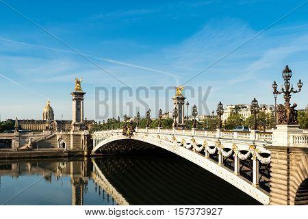 Alexandre III bridge (Pont Alexandre III) and National Residence of the Invalids Paris France