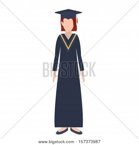 silhouette woman with graduation outfit and redhair vector illustration
