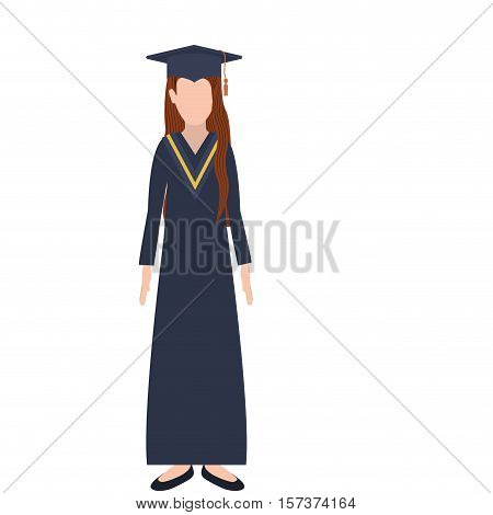 silhouette woman with graduation outfit and long redhair vector illustration