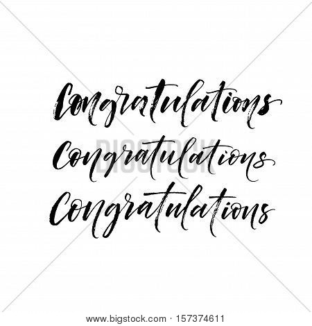 Three variation of congratulations card. Ink illustration. Modern brush calligraphy. Isolated on white background.