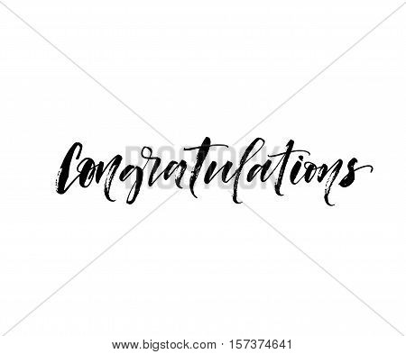 Congratulations hand drawn phrase. Ink illustration. Modern brush calligraphy. Isolated on white background.