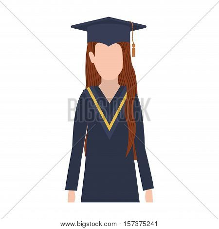 half body woman with graduation outfit and brown hair vector illustration