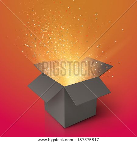 Illustration of Realistic Magic Open Box. Magic Gift Box with Magic Light Comming from Inside. Paper Box