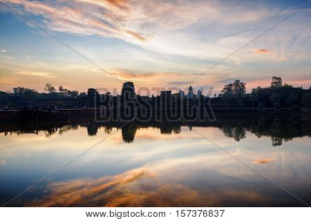 Ancient Temple Angkor Wat At Sunrise. Siem Reap, Cambodia
