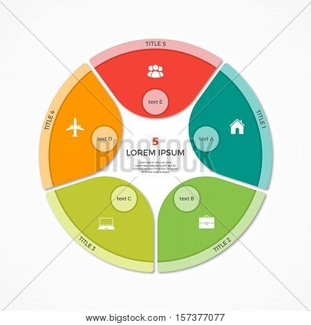 Vector Pie Chart Circle Infographic Template With 5 Options