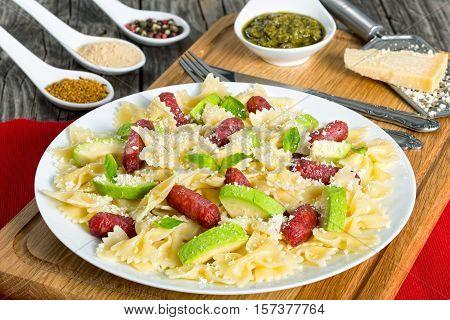 Avocado, Sausages Bow Tie Pasta Warm Salad, Close-up