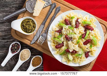 Avocado, Sausages Bow Tie Pasta Warm Salad