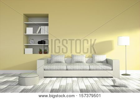 3D Rendering : Illustration Of Modern Living-room Interior With White Sofa Furniture Against Yellow