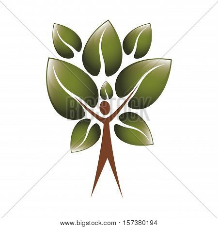 colorful tree trunk human with leaves shape heart to the reverse vector illustration