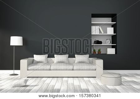 3D Rendering : Illustration Of Modern Living-room Interior With White Sofa Furniture Against Matt Bl