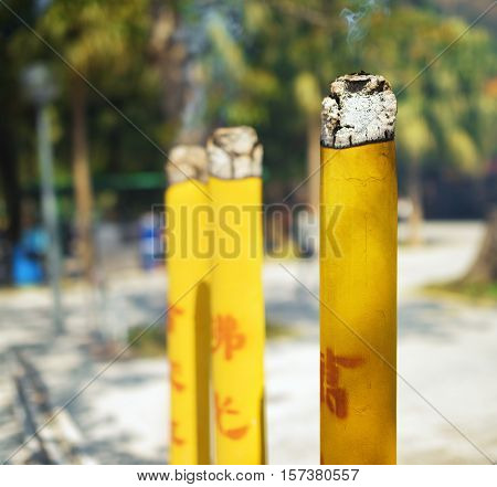 Closeup View Of Incense Sticks At The Buddhist Temple In Hong Kong On A Sunny Day