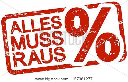 grunge stamp with frame colored red and text clearance sale (text in german)