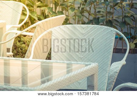 Furniture White Chair And Glass Table