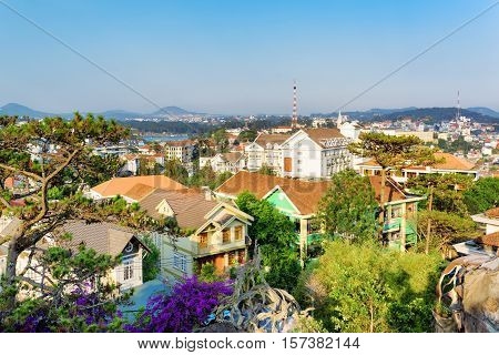 Beautiful Houses With Tile Roofs In The Da Lat City (dalat) On The Blue Sky Background In Vietnam
