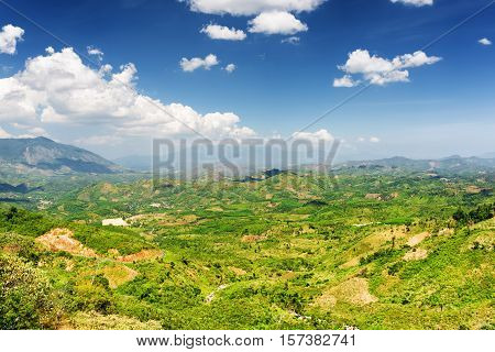 Beautiful View Of The Valley Around Da Lat City (dalat) On The Blue Sky Background In Vietnam