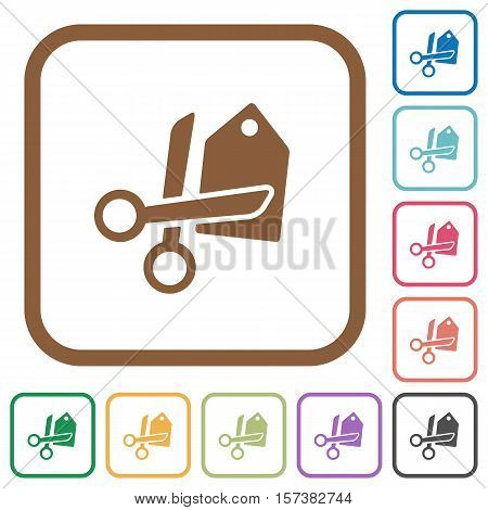 Price cut simple icons in color rounded square frames on white background