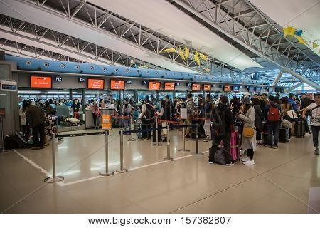 Osaka, Japan - November 2016: Departure check-in counter area inside Kansai International Airport (KIX), Osaka, Japan. Kansai Airport is one of the busiest airports in Japan and an Asian hub, with 780 weekly flights to Asia and Australasia.