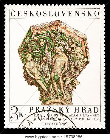 CZECHOSLOVAKIA - CIRCA 1972 : Cancelled postage stamp printed by Czechoslovakia, that shows Adam and Eve.