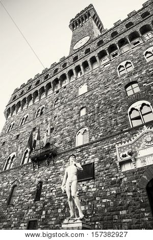 Palazzo Vecchio - Old Palace and Michelangelo's David statue Florence Tuscany Italy. Black and white photo. Travel destination. Vertical composition.