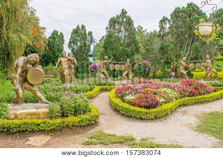 Park of flowers in Dalat Vietnam lush flowers, trees, bushes and decoration