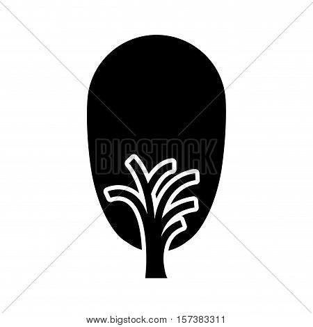 black color tree trunk with leaves shape ovoid vector illustration