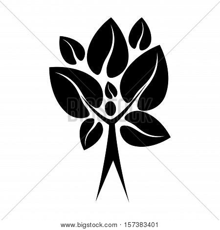 black color tree trunk human with leaves shape heart to the reverse vector illustration
