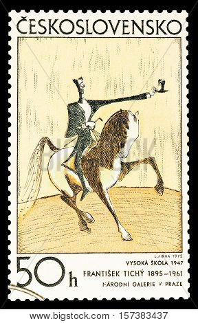 CZECHOSLOVAKIA - CIRCA 1972 : Cancelled postage stamp printed by Czechoslovakia, that shows Painting by Frantisek Tichy.