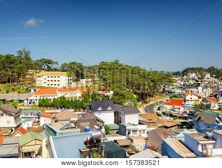 Beautiful View Of Da Lat City (dalat) On The Blue Sky Background In Vietnam