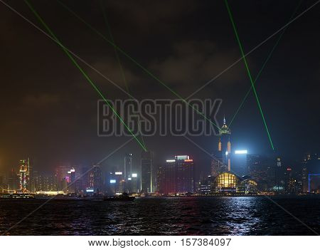 Night View Of Victoria Harbor With Symphony Of Lights In Hong Kong