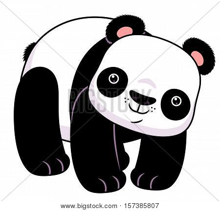 Cute cartoon panda standing on the white background.