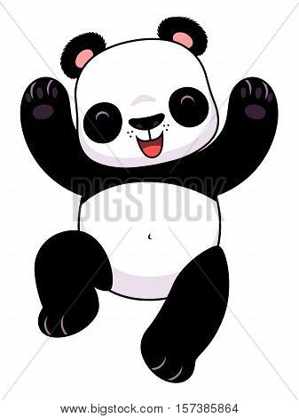 Cute cartoon happy panda jumping on the white background.