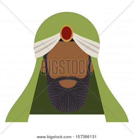 colorful arabic man head with turban and beard without a face vector illustration