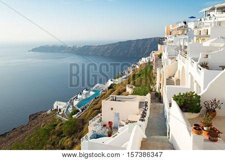 Santorini Greece - October 17 2015: Imerovigli panorama of the village on the caldera pathway